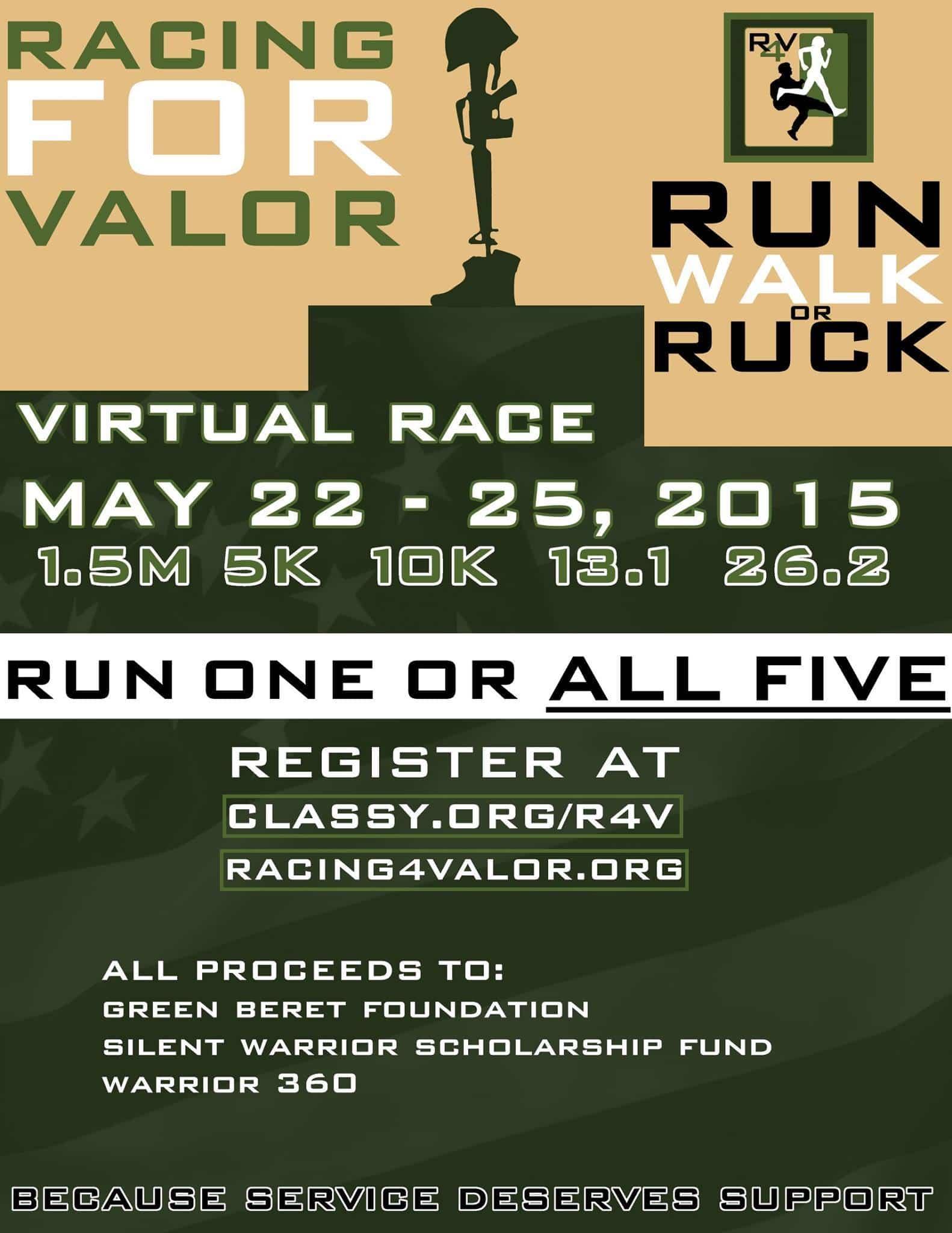Racing For Valor 2015 Memorial Run Flyer