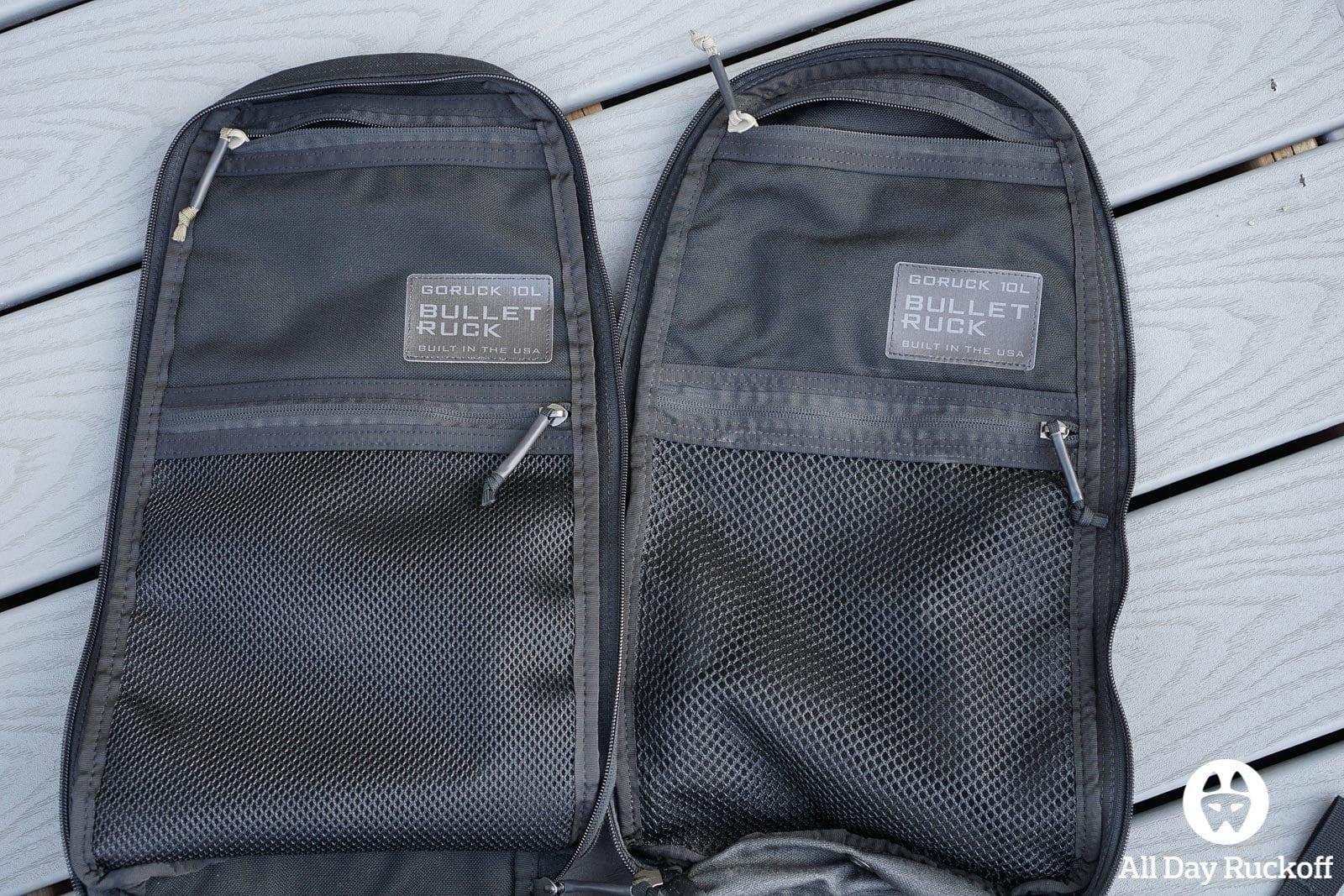 GORUCK Bullet Ruck 10L Comparison - Inside Pockets