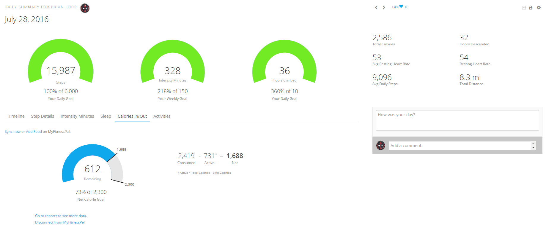 Garmin Fenix 3 HR - Calorie Tracking