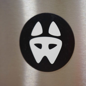 Dog Head Logo Sticker + Magnet Set