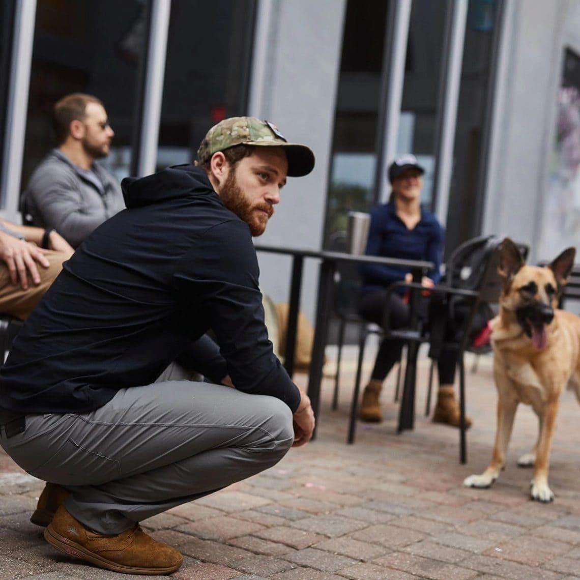 GORUCK Challenge Windbreaker (Black) with dog