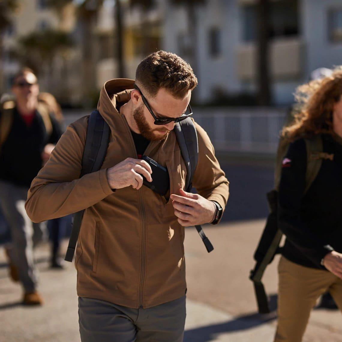GORUCK Challenge Windbreaker (Coyote) with phone